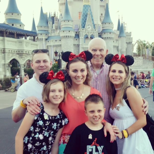 Dad and grandkids, Disney castle